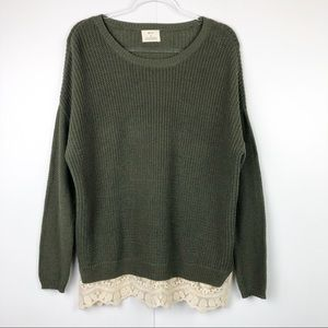 Oversized Pins and Needled Green Lace Sweater